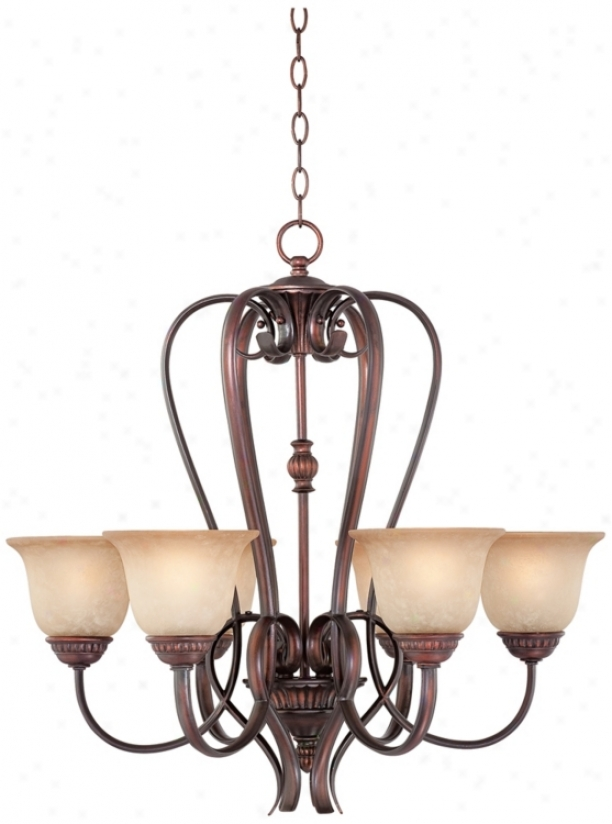 "Bronze With Scavo Glass 27"" Wide Chandelier (p1473)"