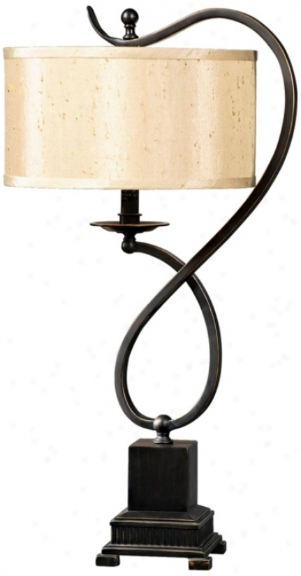 Bronzed Metal Looped Candlestick Table Lamp (j1236)