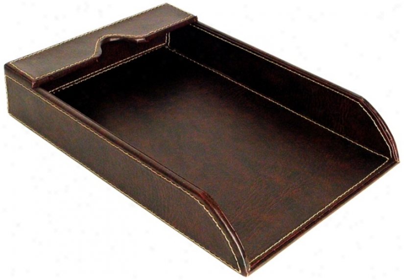 Brown Faux Leatyer Paper Tray (v3701)