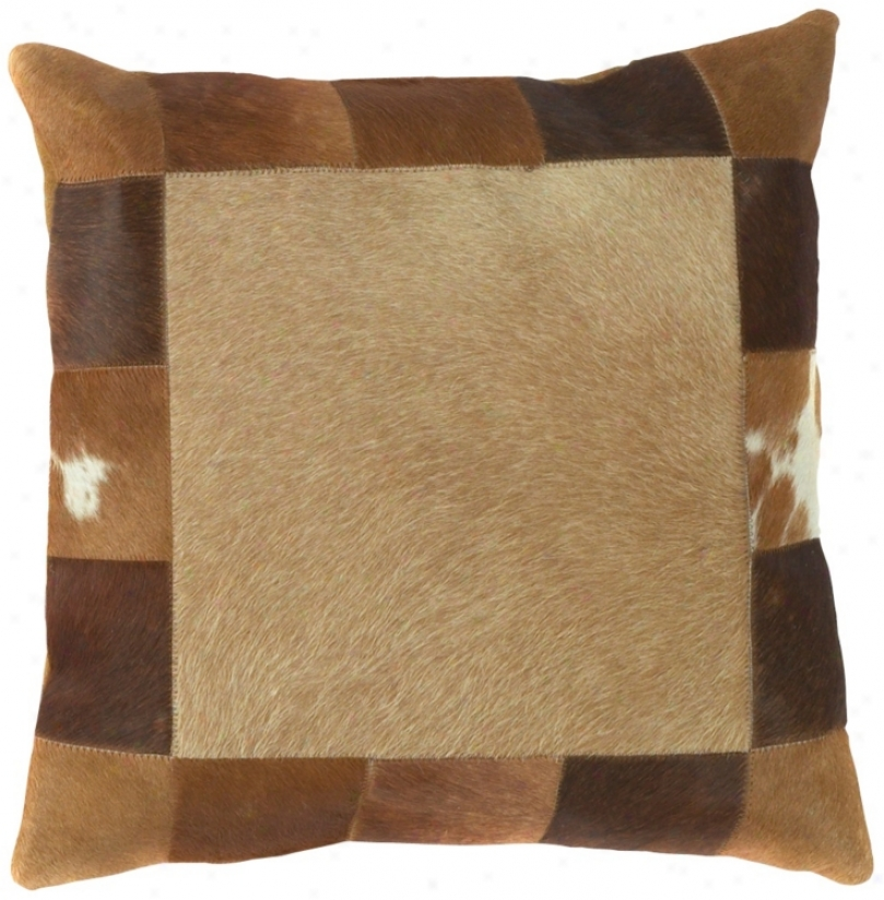 Brown Leather Hide Square Pillow (f8219)
