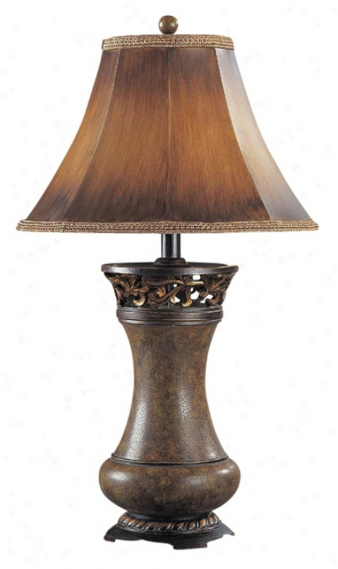 Brown Leather Panel Shade Table Lam p(h1284)