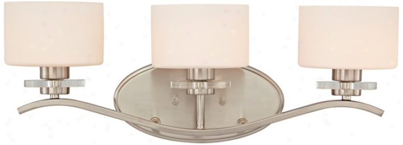 "Brushed Nickel And Opal Glass 22"" Wide Bath Light (t9807)"