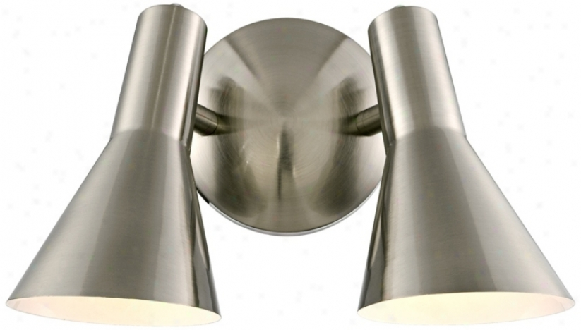"Brushed Nickel Contemporary 12"" Wide 2-light Wall Sconce (r2856)"