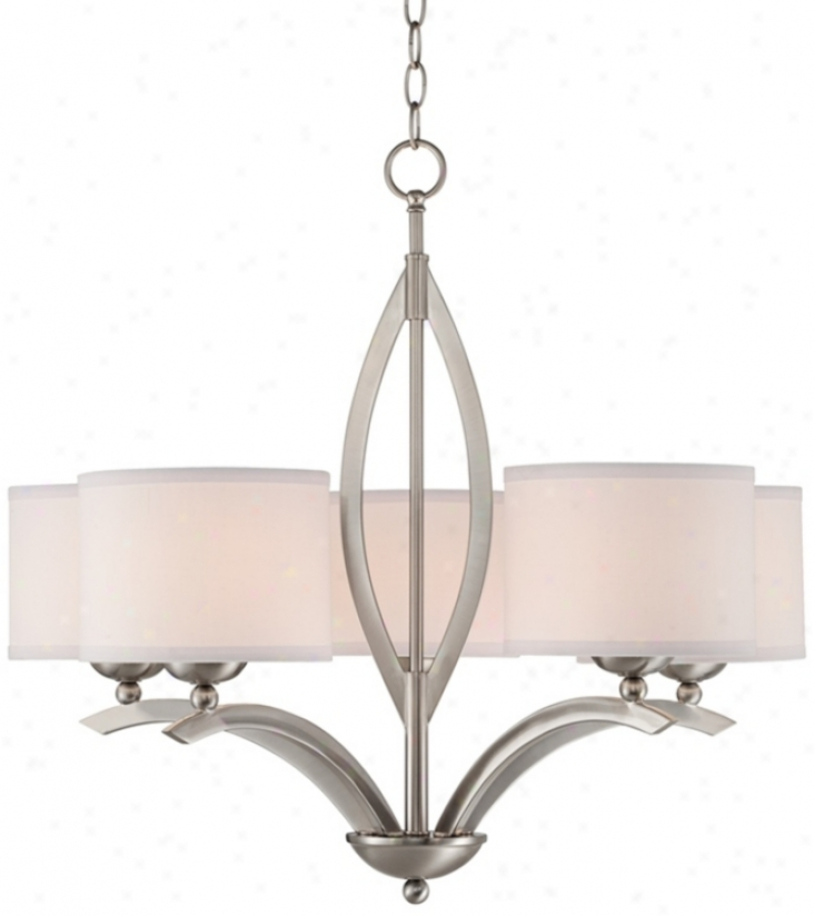 "Brushed Nickel Linen Shade 27 1/4"" Wide 5-light Chandelier (t8825)"