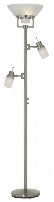 Brushed Nickel Two Swing Arm Torchiere Floor Lamp (05080)