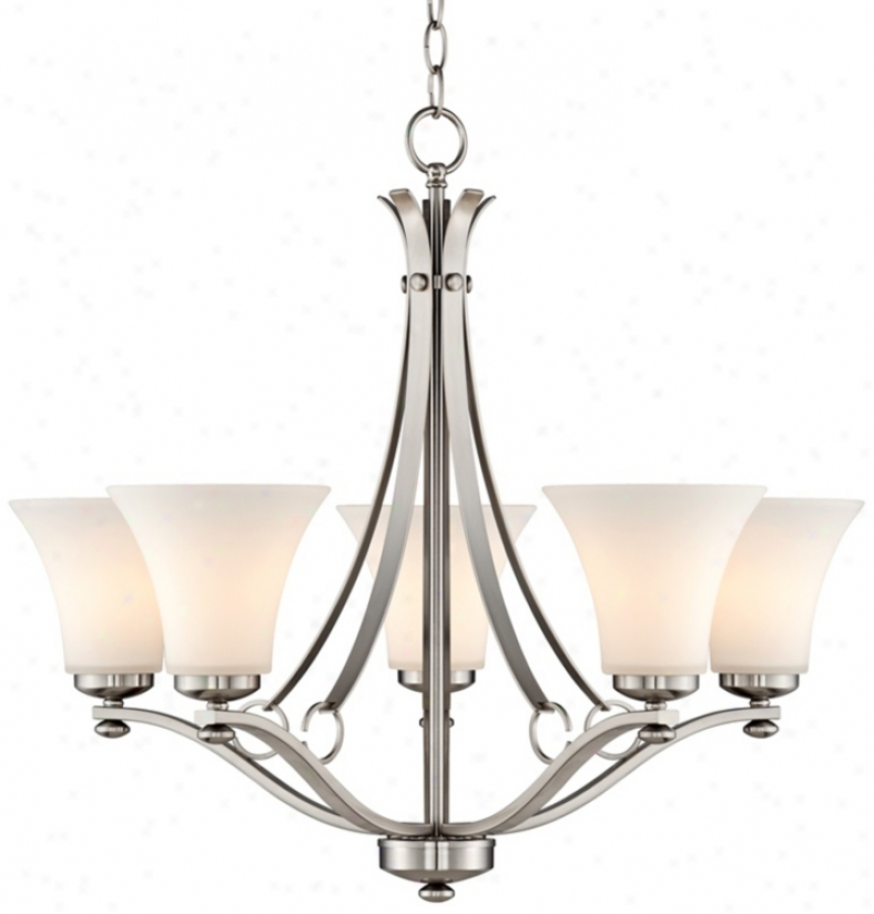 """Brushed Niclel White Glass 25 1/4"""" Wide 5-light Chandelier (t8830)"""