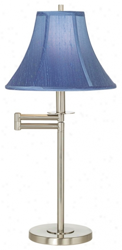 Brrushed Nickel With Blue Shade Swing Arm Desk Lamp (41253-20786)