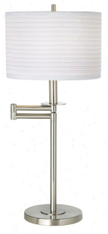Brushed Nickel With White Drum Shade Swing Arm Desk Lamp (41253-23750)