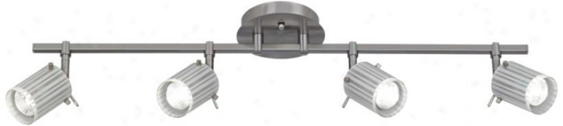 Brushed Steel 4-light Acid Stripe Glass Track Fixture (t75546)