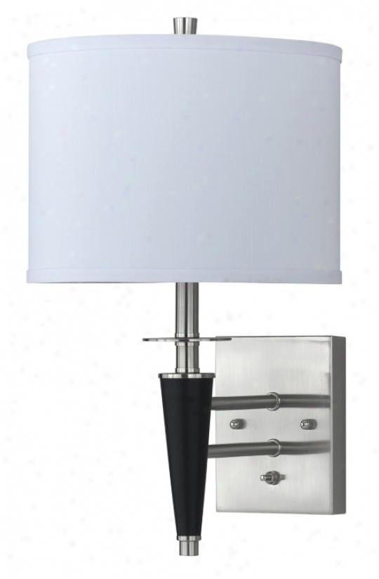 Brushed Steel  Black Plug-in Wall Lamp (9344)