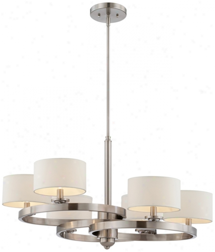 "Brushed Sreel Finish 6-light 31"" Wide Chandelier (t9530)"