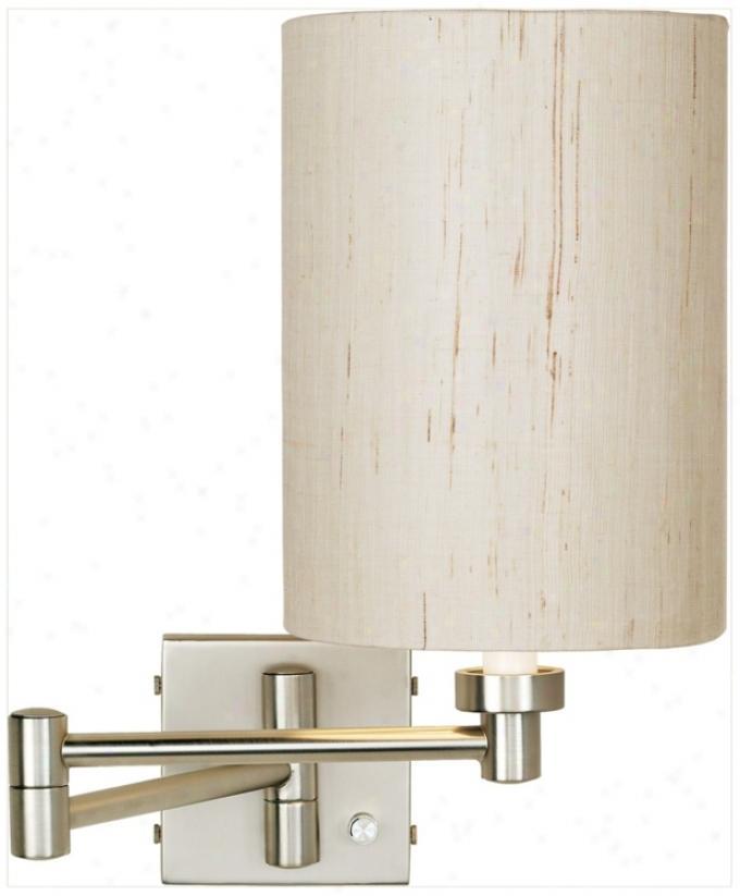 Brushed Steel Ivory Cylindee Shade Plug-in Swing Arm Wall Lamp (20762-00184)