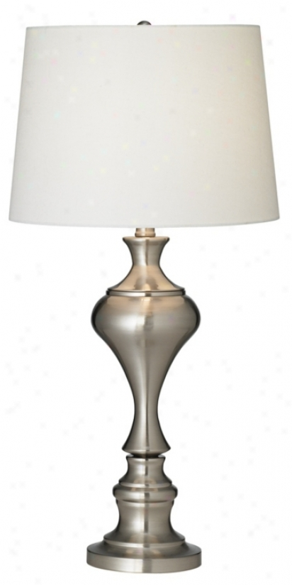 Brushed Steel Modern Candlestick Table Lamp (r2496)