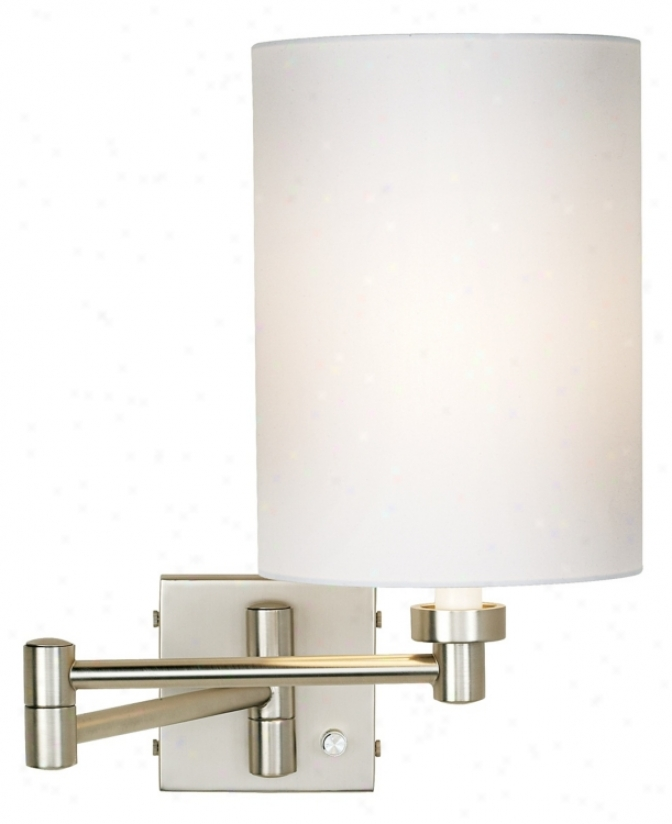 Brushed Steel White Cyllnder Shade Plug-in Swing Arm Wall Lamp (20762-007)