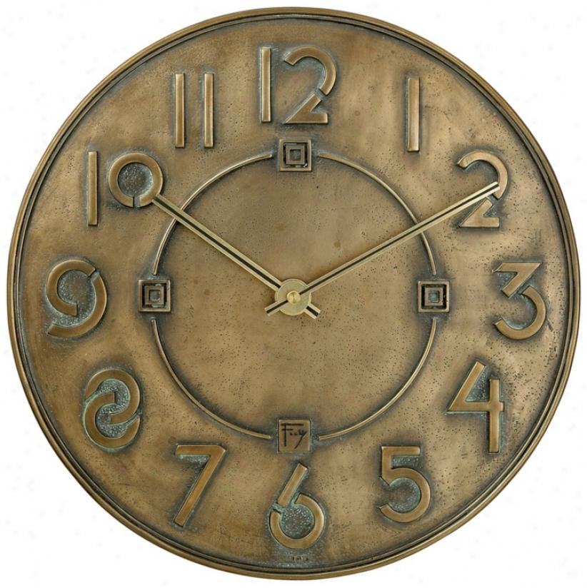 "Bulova 11"" High Frank Lloyd Wright Exbibition Typeface Clock (p0495)"