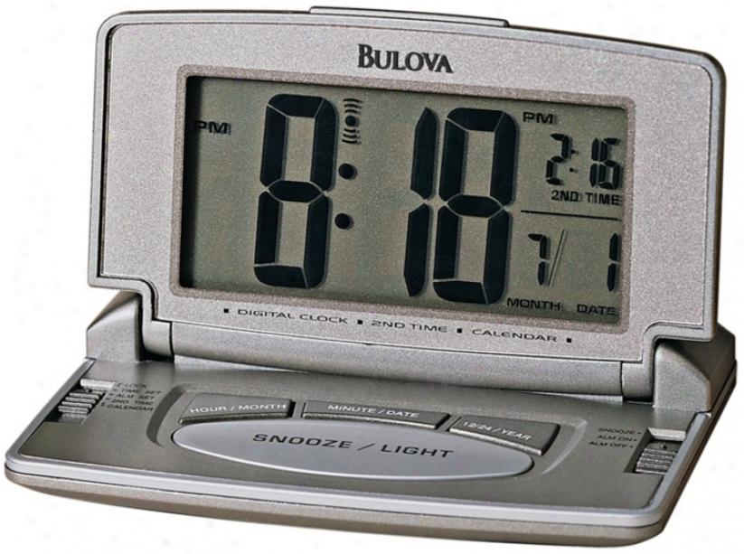 """Bulova Titanium Digital 4"""" Wide Travel Clock (f6724)"""