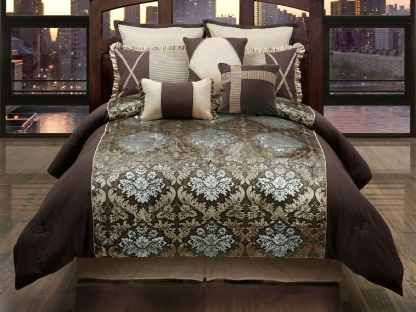 Burgess Gold Chocolate 9-piece Queen Bed Set (r5595)