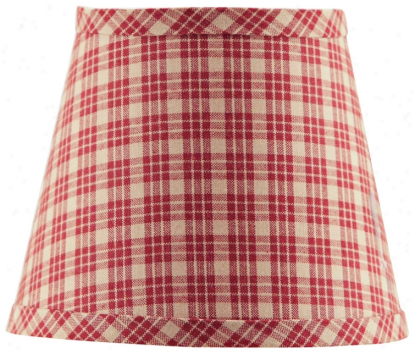 Burgundy Tan Plaid Lamp Shade 8x14x10.25 (spider) (p4463)