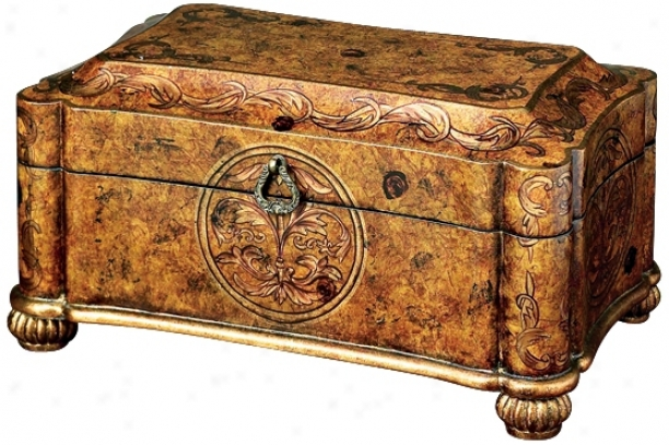 Burl Wood Finish Iron Accent Box (j5389)