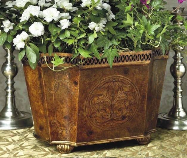 Burl Wood Finish Iron Planter (j5388)