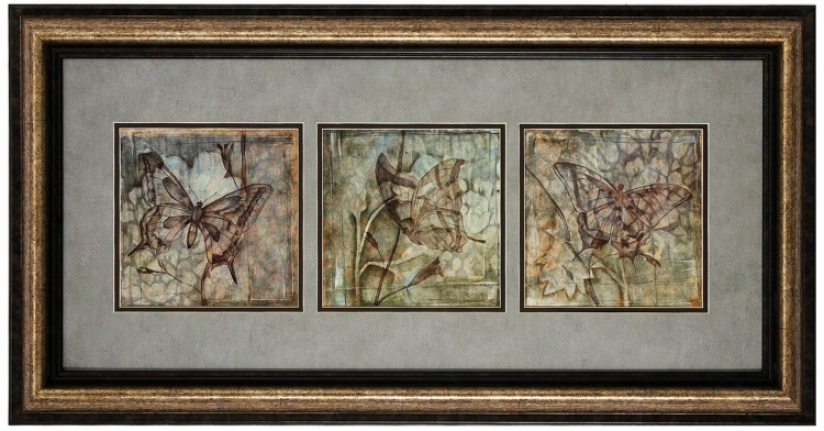 "Butterflies 35"" Wide Framed Wall Skill (v6940)"