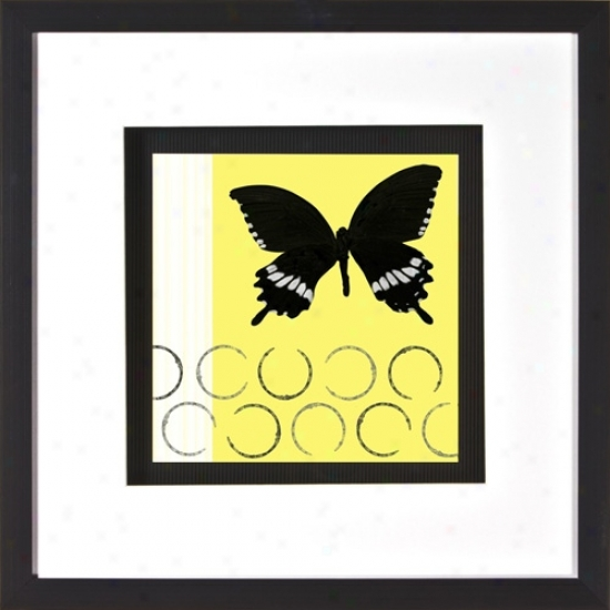 "Butterfly On Yellow Print Under Glass 20"" Square Wall Art (h1897)"