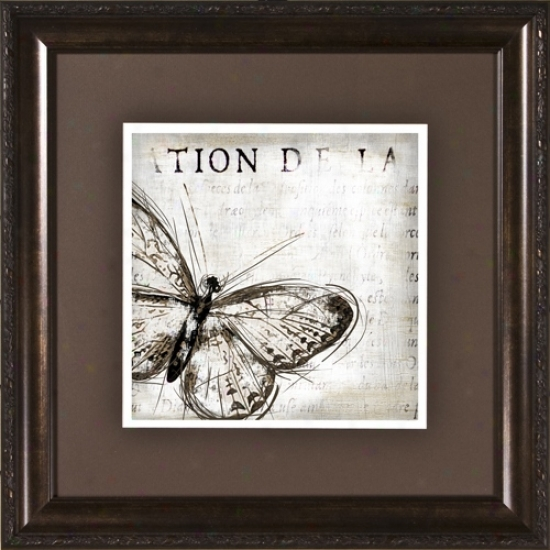 "Butterfly Renderings I Under Glass 19 1/2"" Square Wall Art (h1906)"