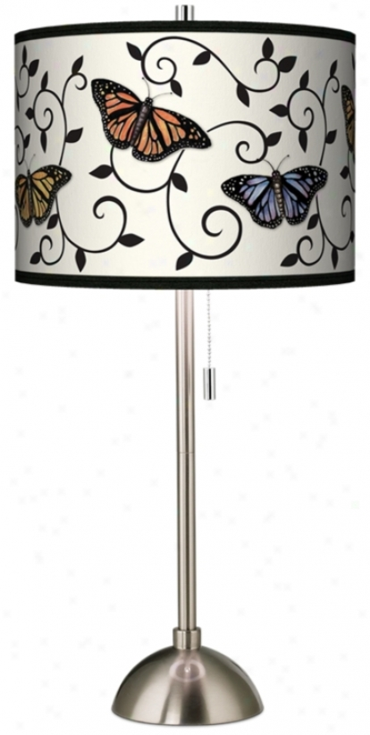 Butterfly Scroll Giclee Brushed Steel Table Lamp (60757-j5427)