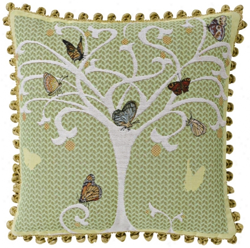 "Butterfly Tree Celadon 19"" Square Pillow (g2901)"