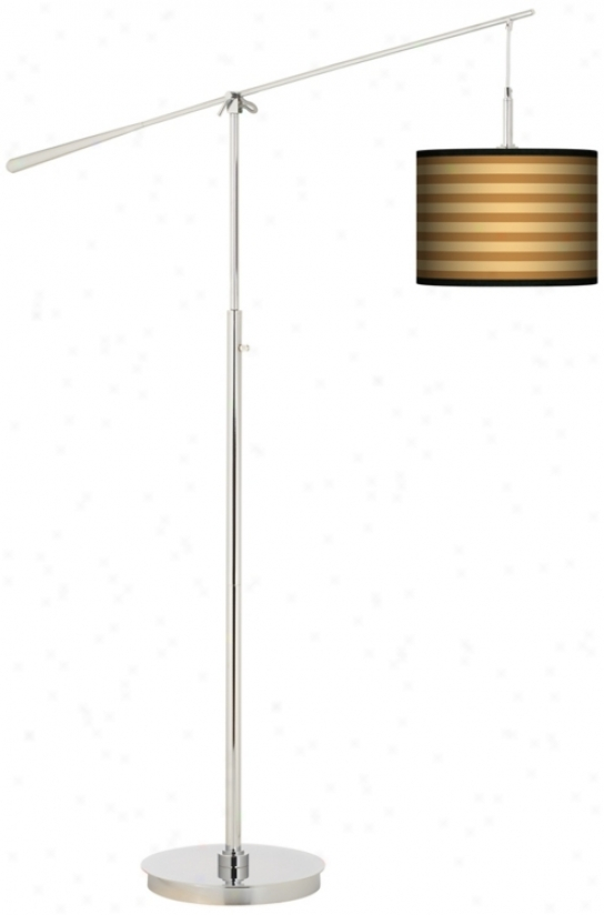 Butterscotch Parallels Giclee Boom Arm Floor Lamp (n0749-n4262)
