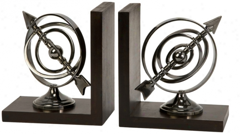 Calisto Aluminum Armillary Bookends (t9921)