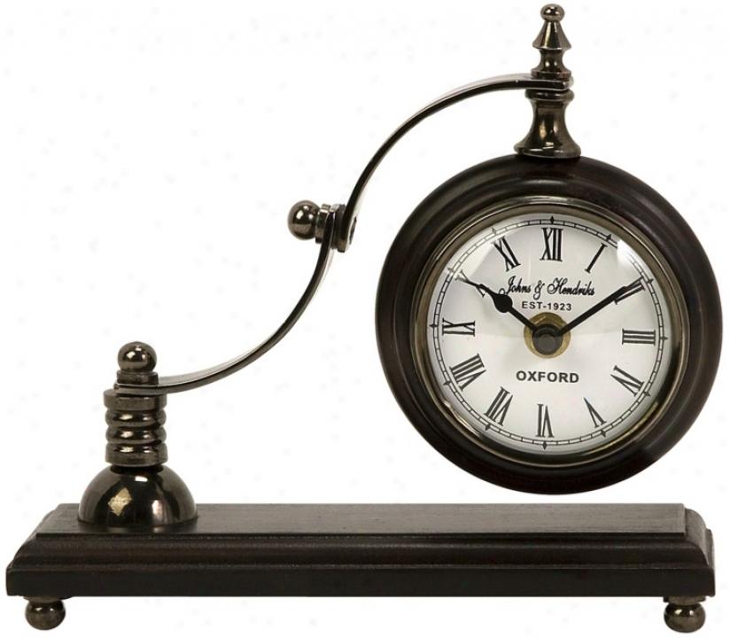 Calisto Flourish Arm Metal And Wood Desk Clock (t9980)