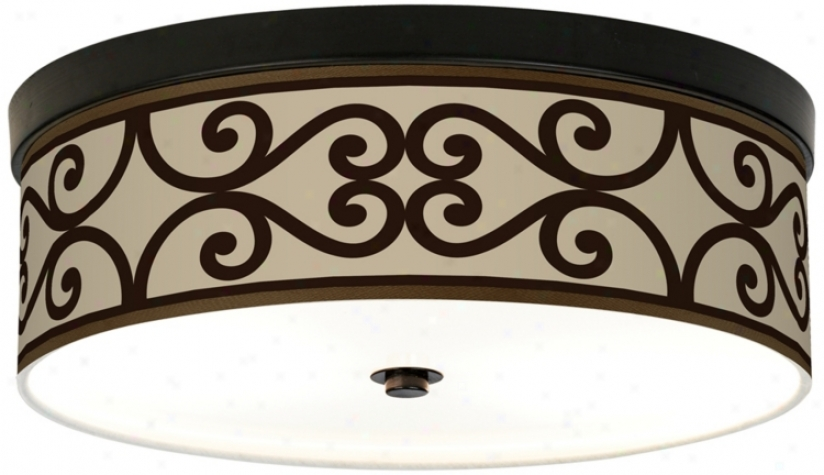 Cambria Scroll Giclee Energy Efficiet Bronze Ceiling Light (h8795-p2016)