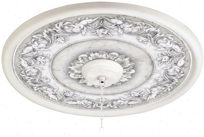 "Camelot Manor Mist 24"" Wide White 4 In. Opening Medallion (94330-g7709)"