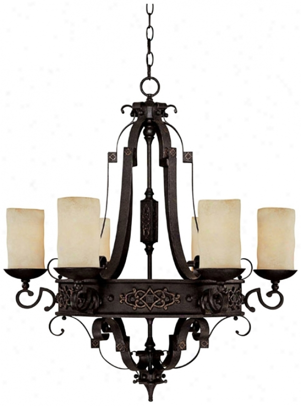 Capital River Armorial bearings Rustic Iron 6-light Chandelier (p5460)