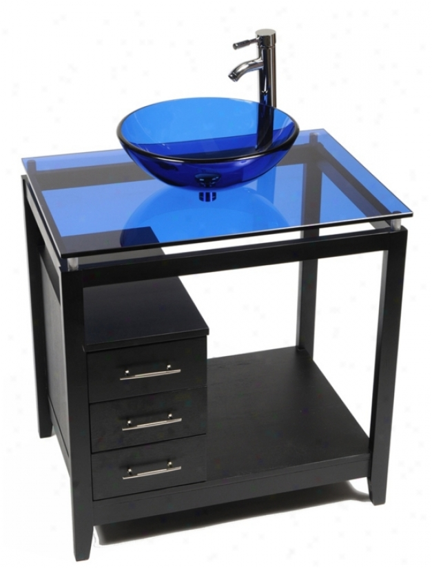 Cappuccino Cobal Blue Glass Top Contemporary Vanity (r9077)