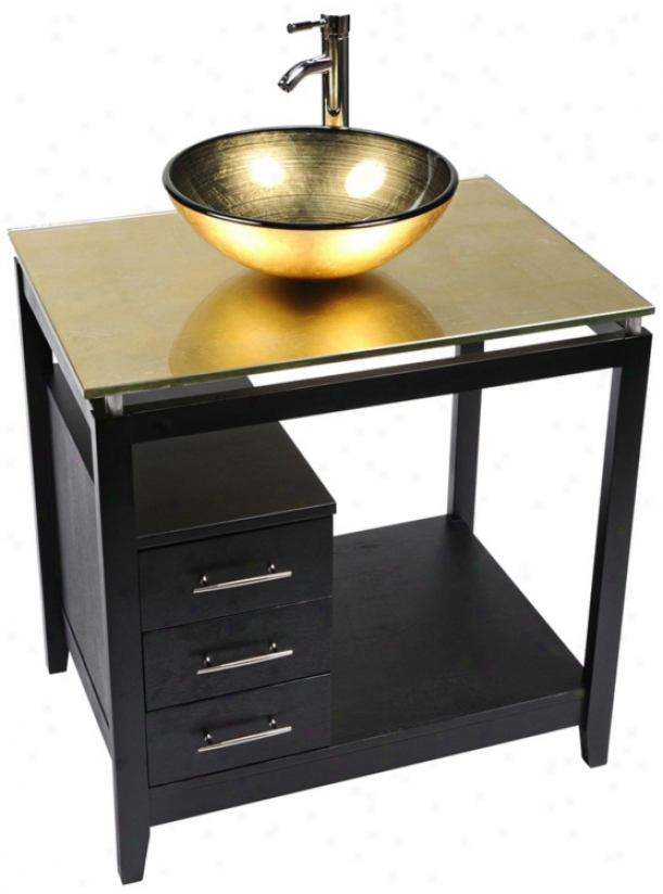Cappuccino Gold Foil Glass Top Contemporary Vanity (r9089)