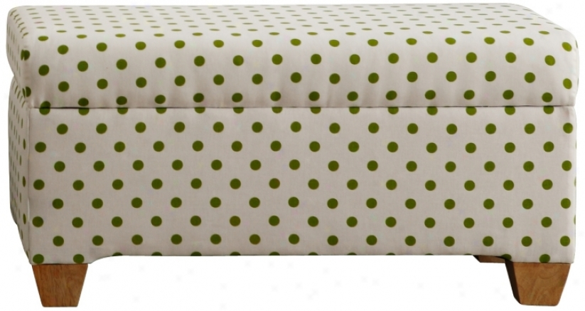 Cari Green Polka Dot Storage Bench (w1752)