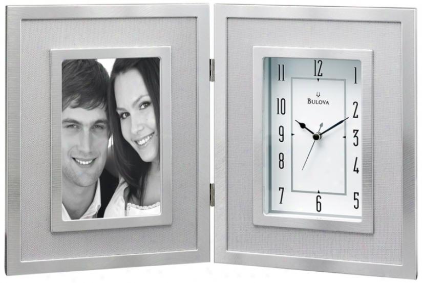 "Carlson 14 1/4"" Wide Picture Frame Bulova Desk Clock (v1984)"