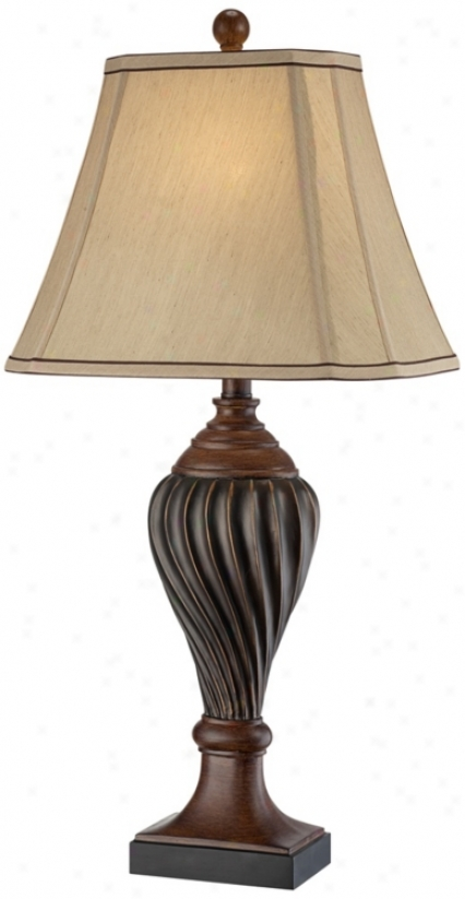 Carved Two-tone Brown Table Lamp (t3585)