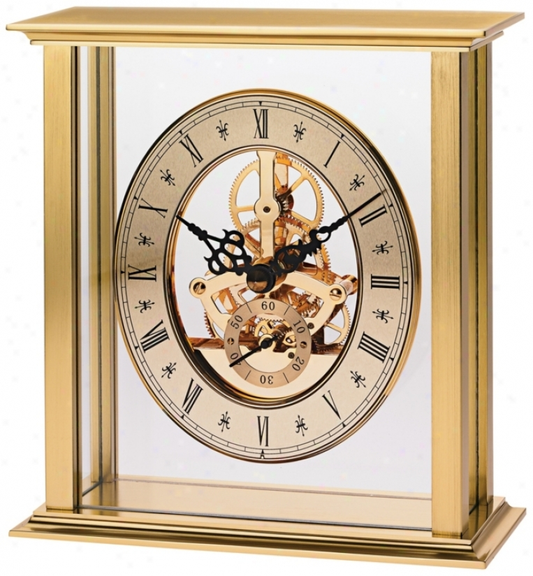 "Cadtine Ii 6 3/4"" Lofty Brushed Brass Bulova Mantel Clock (v1947)"