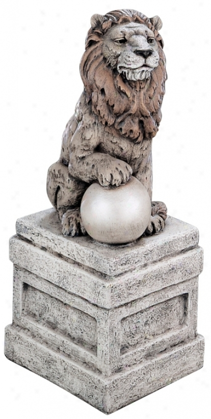 Castle Lion On Base Right Facing Garden Accent (30950)