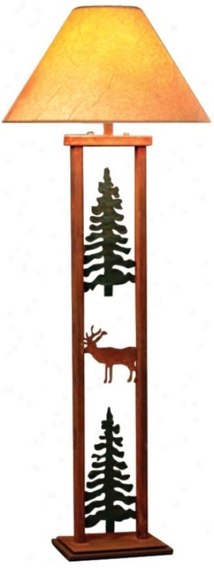 Cedar Ridge Rectangular Pine Tree And Elk Floor Lamp (h3817)