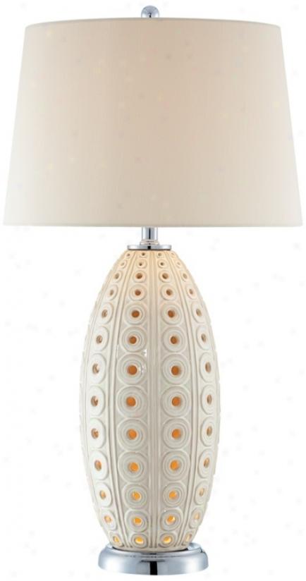 Ceramic Circles White Nightlight Table Lamp (t4686)