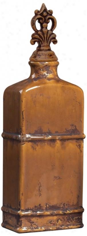 Ceramic Jar With Decorative Finial (h6851)