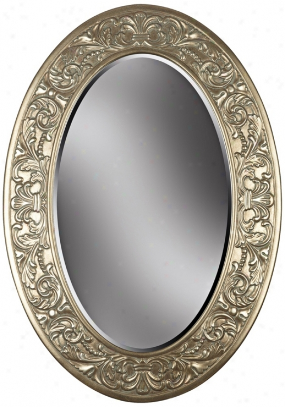 "Champagne Silver Oval 32"" Strong-flavored Wall Mirror (t5039)"