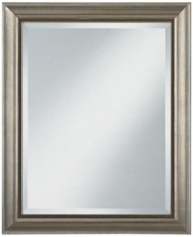 """Champagne Silver Wood Frme 33"""" High Wall Mirror (u7490)"""
