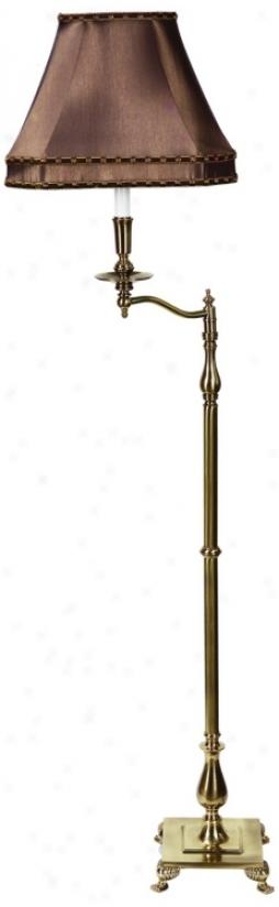 Charlotte Iv Khaki And Antique Brass Swingarm Floor Lamp (h0283)