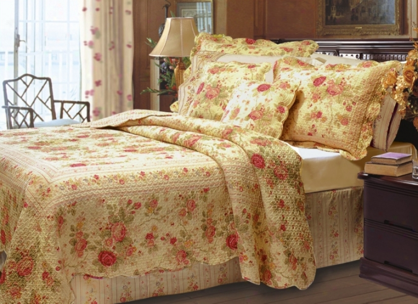 Charming Roses 2-piece Twin Bed Set (k3246)