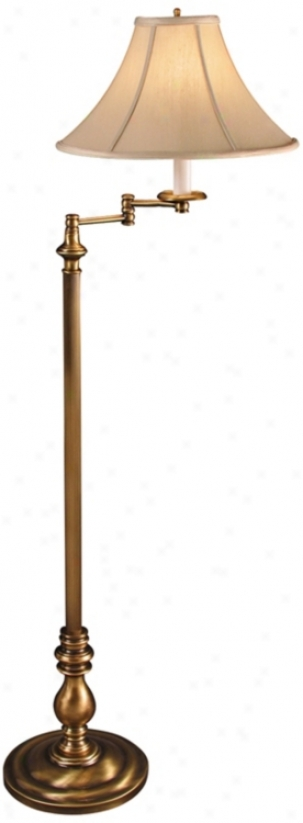 Chauncey Antique Brass Swing Arm Floor Lamp (v0463)